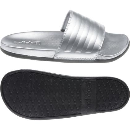 adidas Adilette Comfort Badesandalen Damen - SILVMT/SILVMT/CBLACK - Größe 8