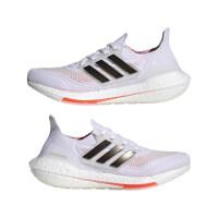 adidas Ultraboost 21 Runningschuhe Damen - FTWWHT/CBLACK/SOLRED - Größe 8-