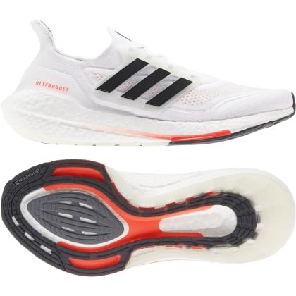 adidas Ultraboost 21 Runningschuhe Damen - FTWWHT/CBLACK/SOLRED - Größe 8