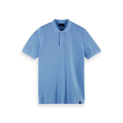 Scotch & Soda Piqué-Poloshirt - Seaside Blue - Größe M