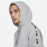 Nike Sportswear Mens Fleece Pullover Hoodie - DK GREY HEATHER/WHITE - Größe L