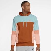 Nike Sportswear Mens Pullover French Terry Hoodie - LIGHT DEW/CAMPFIRE ORANGE/ARCTIC ORANGE - Größe M