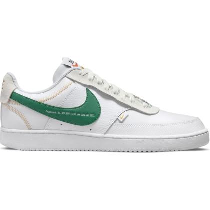 Nike Court Vision Low Premium Sneaker Herren - WHITE/GREEN NOISE-SUMMIT WHITE-SAIL - Größe 8